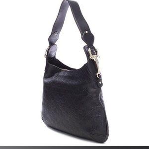 Gucci Black Leather Guccissima Creole Hobo Bag